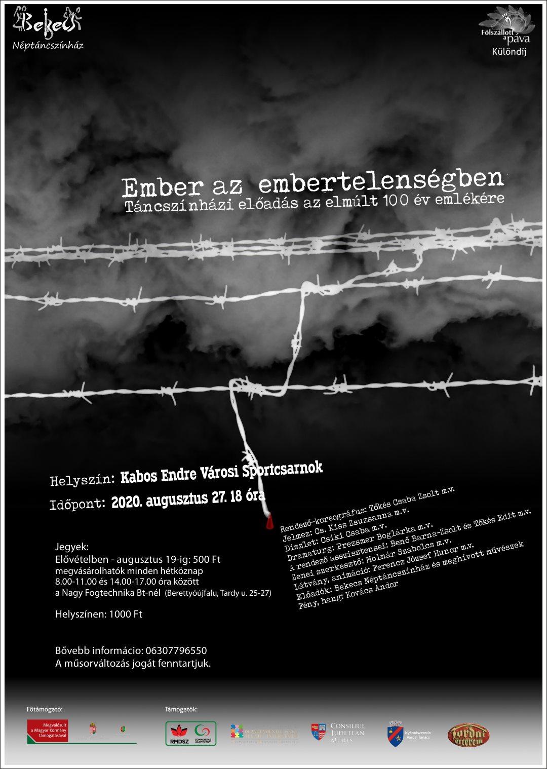 Ember az embertelenségben - Táncszínházi előadás az elmúlt 100 év emlékére