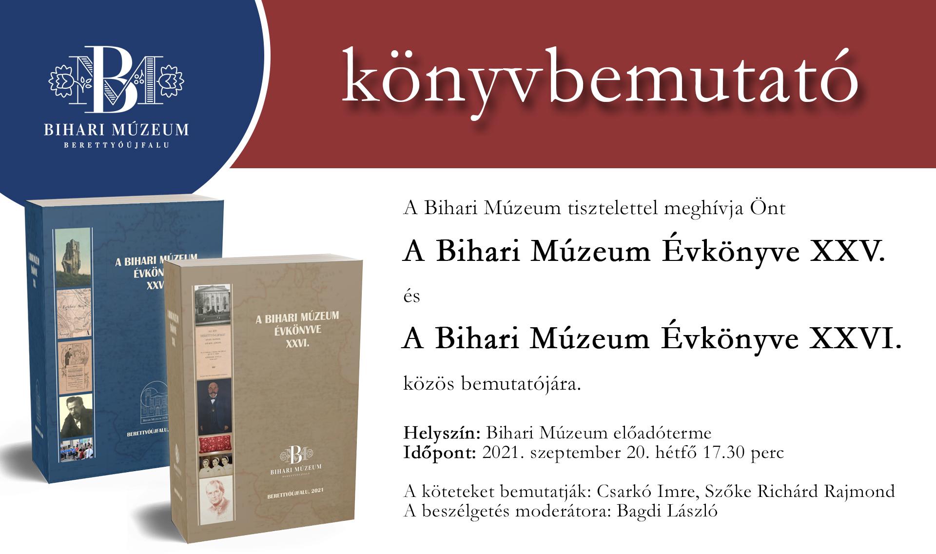 A Bihari Múzeum Évkönyve XXV. és XXVI. közös bemutatója