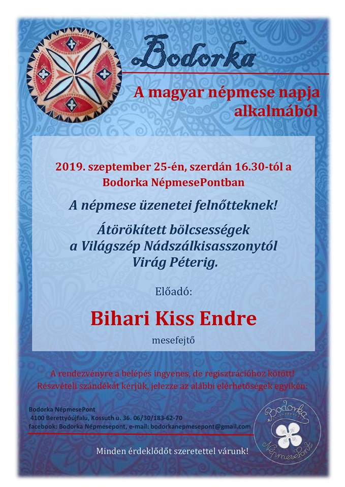 A magyar népmese napja alkalmából - Bihari Kiss Endre mesefejtő előadása
