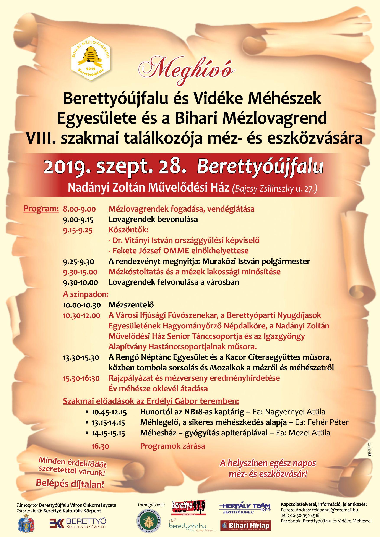 Berettyóújfalu és Vidéke Méhészek Egyesülete és a Bihari Mézlovagrend VIII. szakmai találkozója méz -és eszközvására