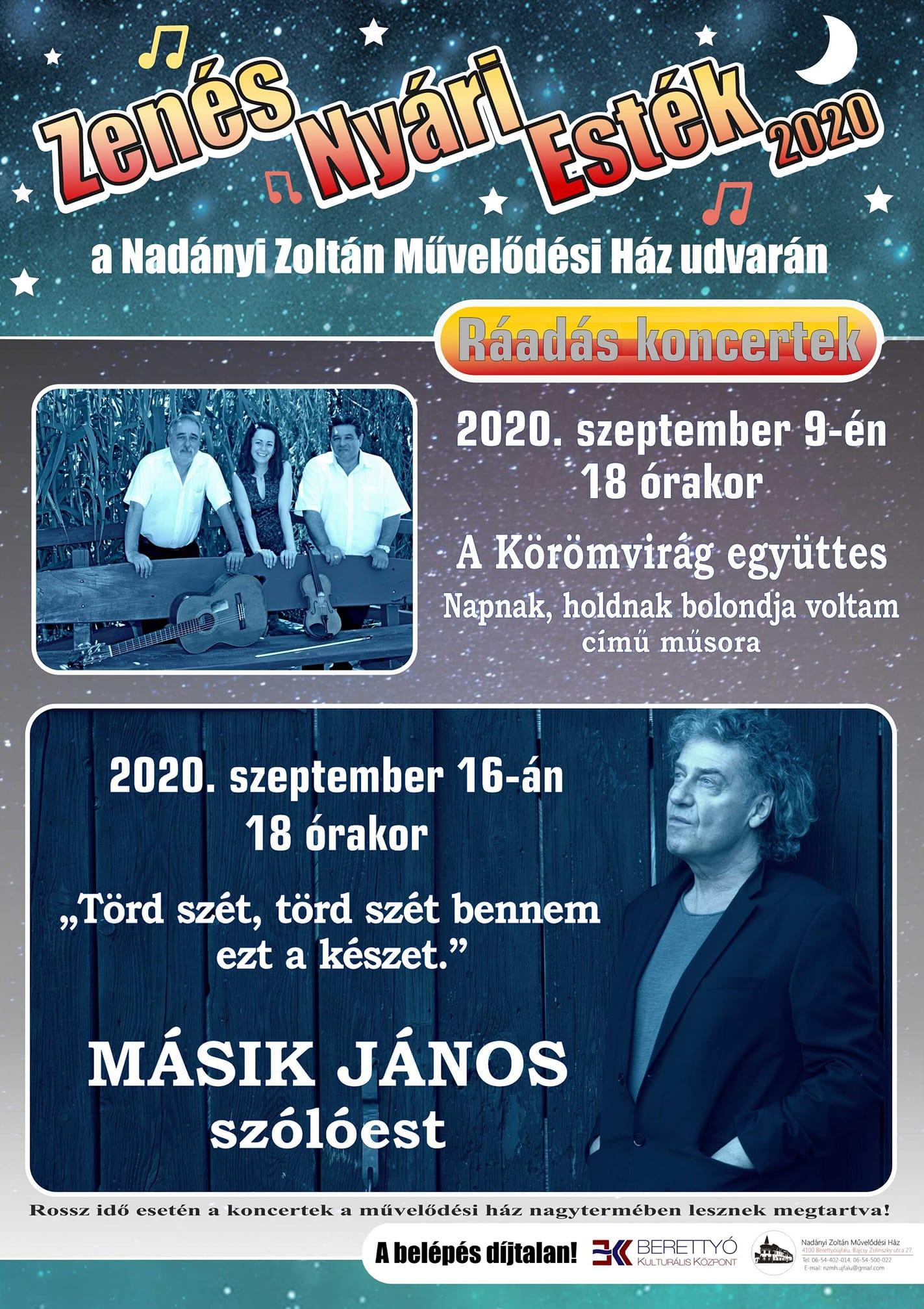 Zenés Nyári Esték - Ráadás koncertek - Másik János szólóest
